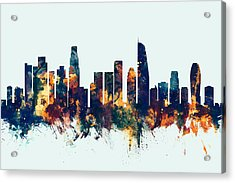 Los Angeles California Skyline Acrylic Print by Michael Tompsett