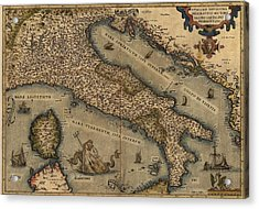 1570 Map Of Italy  From Abraham Acrylic Print by Everett