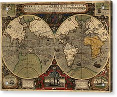 1595 World Map Shows Routes Acrylic Print by Everett