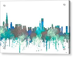 Acrylic Print featuring the digital art Chicago Illinois Skyline by Marlene Watson