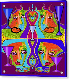 Acrylic Print featuring the digital art 1688 - Funny Faces 2017 by Irmgard Schoendorf Welch
