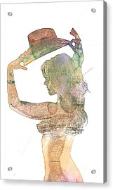Katy Female Nude Watercolor Painting Fine Art Print Or Picture P Acrylic Print by Kendree Miller
