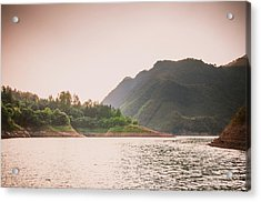 The Mountains And Lake Scenery In Sunset Acrylic Print