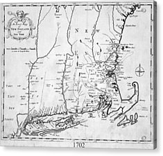 1702 Map Of New England And New York Acrylic Print