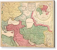 1712 French Map Of Southwest Asia Acrylic Print by Everett
