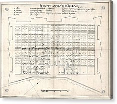 1722 Plan Of New Orleans, The Area That Acrylic Print by Everett
