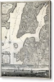 1766 Map Of New York City Acrylic Print