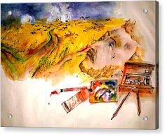 Looking At Van Gogh My Way Album Acrylic Print by Debbi Saccomanno Chan