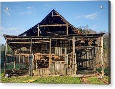 1800s Barn Being Dismantled Acrylic Print by Douglas Barnett