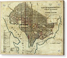1822 Map Of Washington Dc Acrylic Print