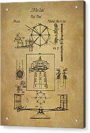 1841 Wind Wheel Patent Acrylic Print