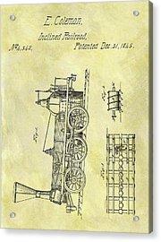 1845 Locomotive Patent Acrylic Print by Dan Sproul