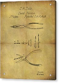 1848 Dental Forceps Patent Acrylic Print by Dan Sproul