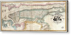 1852 New York City Map Acrylic Print by Jon Neidert