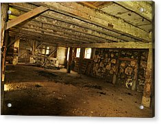 1855 Maple Dell Farm Barn Interior Acrylic Print