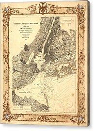 1860 New York City Map Acrylic Print by Dan Sproul