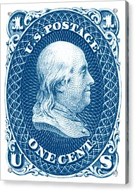 Acrylic Print featuring the painting 1861 Benjamin Franklin Stamp by Historic Image