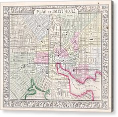 1864 Map Of Baltimore Maryland Acrylic Print by Celestial Images