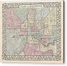 1867 Map Of Baltimore Maryland Acrylic Print by Celestial Images