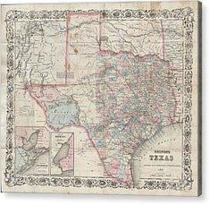 1870 Colton Pocket Map Of Texas Acrylic Print