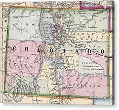 1870 Map Of Colorado Acrylic Print