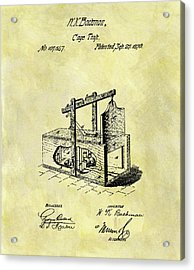 Acrylic Print featuring the mixed media 1870 Mousetrap Patent by Dan Sproul