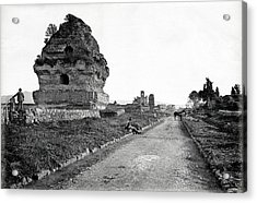 Acrylic Print featuring the photograph 1870 Visiting Roman Ruins Along The Appian Way by Historic Image