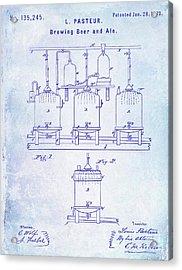 1873 Beer Patent Blueprint Acrylic Print by Jon Neidert