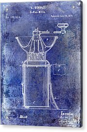 1873 Coffee Mill Patent Blue Acrylic Print by Jon Neidert