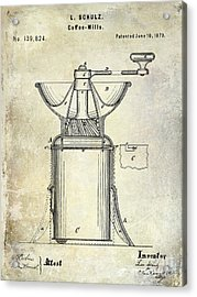 1873 Coffee Mill Patent Acrylic Print by Jon Neidert