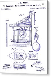 1873 Draft Beer Patent Blueprint Acrylic Print