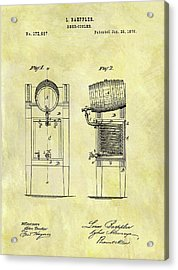 1876 Beer Cooler Patent Acrylic Print by Dan Sproul