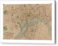 Reproduction 1876 Map Of Richmond Virginia Acrylic Print by Christopher Kerby