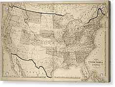 1876 Map Of The United States Sepia Acrylic Print