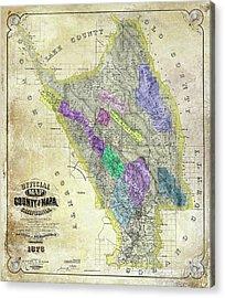 1876 Napa Valley Map Acrylic Print