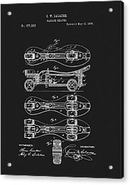 1876 Roller Skates Patent Acrylic Print by Dan Sproul