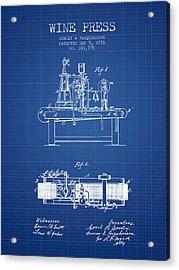1876 Wine Press Patent - Blueprint Acrylic Print