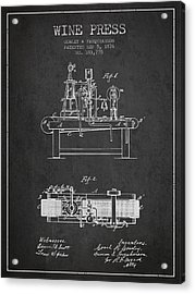 1876 Wine Press Patent - Charcoal Acrylic Print by Aged Pixel