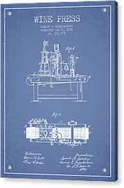 1876 Wine Press Patent - Light Blue Acrylic Print by Aged Pixel