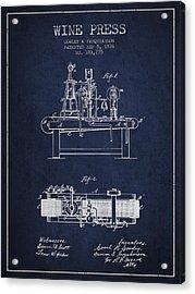 1876 Wine Press Patent - Navy Blue Acrylic Print