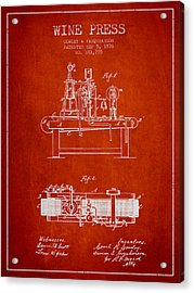 1876 Wine Press Patent - Red Acrylic Print