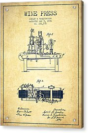 1876 Wine Press Patent - Vintage Acrylic Print by Aged Pixel