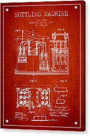 1877 Bottling Machine Patent - Red Acrylic Print