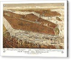 1877 Brooklyn New York City Map Acrylic Print by Dan Sproul