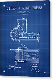 1877 Cider And Wine Press Patent - Blueprint Acrylic Print