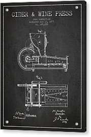 1877 Cider And Wine Press Patent - Charcoal Acrylic Print by Aged Pixel