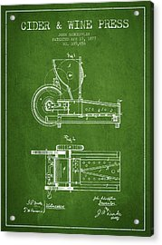 1877 Cider And Wine Press Patent - Green Acrylic Print