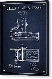 1877 Cider And Wine Press Patent - Navy Blue Acrylic Print