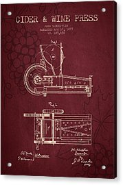 1877 Cider And Wine Press Patent - Red Wine Acrylic Print by Aged Pixel
