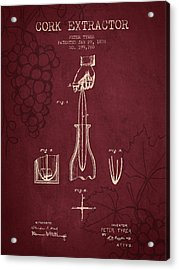 1878 Cork Extractor Patent - Red Wine Acrylic Print by Aged Pixel